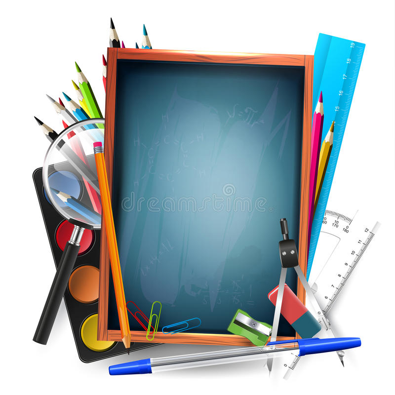 Various School Supplies In A Frame For Text. Stock Image