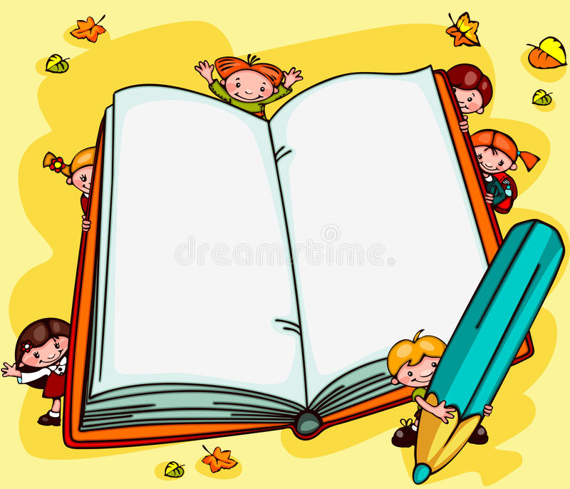 School backgrounds. Book. School background with children - an open book. Place for text royalty free illustration
