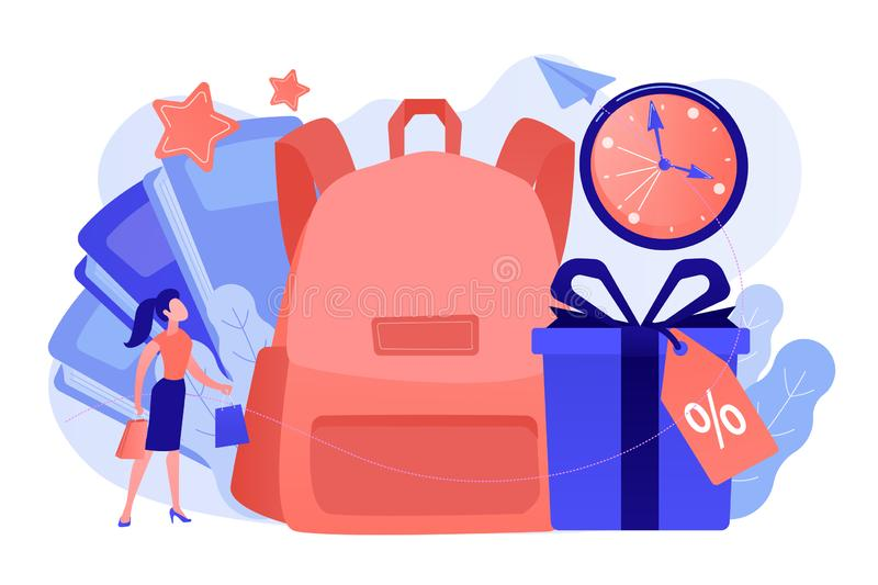 Back to school sale and deals concept vector illustration. School backpack, books, shopper with shopping bag and present box with percent tag. Back to school stock illustration