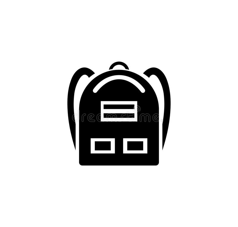 School Backpack icon. Simple Flat Vector Illustration sign. Black symbol on white background. royalty free illustration