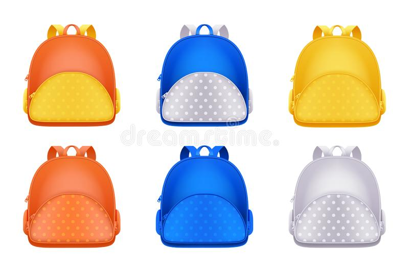 School backpack icons, isolated on white background. Vector 3d realistic illustration of multicolor kids rucksack stock illustration