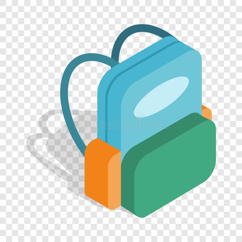 School backpack isometric icon stock illustration