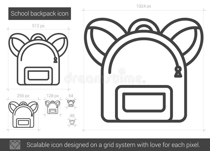 School backpack line icon. vector illustration