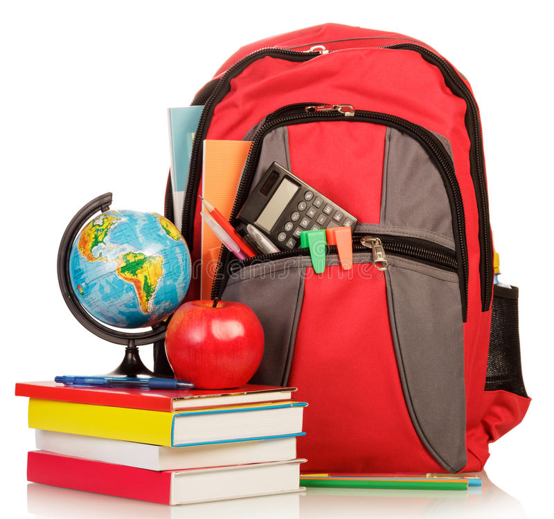 School Backpack with school supplies royalty free stock photos