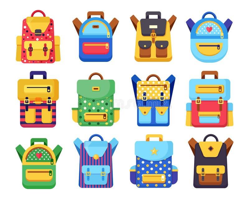 School backpack set. Kids rucksack, knapsack isolated on white background. Bag with supplies, ruler, pencil, paper. Pupil satchel royalty free illustration