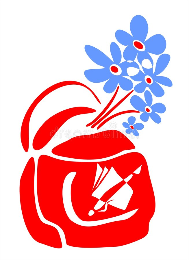 School bag and blue flowers stock illustration