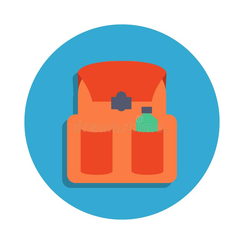 School bag colored in blue badge icon. Element of school icon for mobile concept and web apps. Detailed school bag icon can be use. D for web and mobile on white vector illustration
