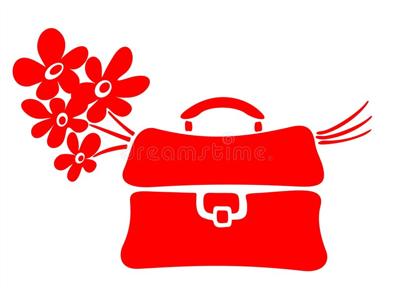 School bag and flowers
