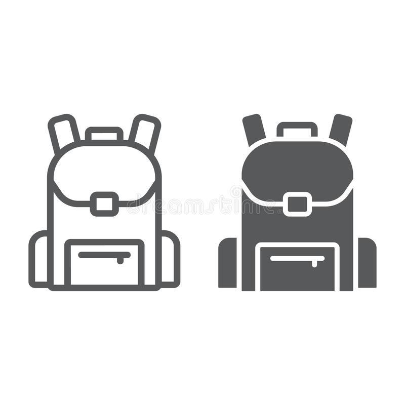 School bag line amd glyph icon, school and education, backpack sign vector graphics, a linear pattern on a white. Background, eps 10 royalty free illustration
