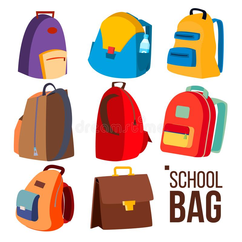 School Bag Set Vector. Different Types, View. Schoolchild, Kids Backpack Icon. Education Sign. Back To School. Isolated stock illustration