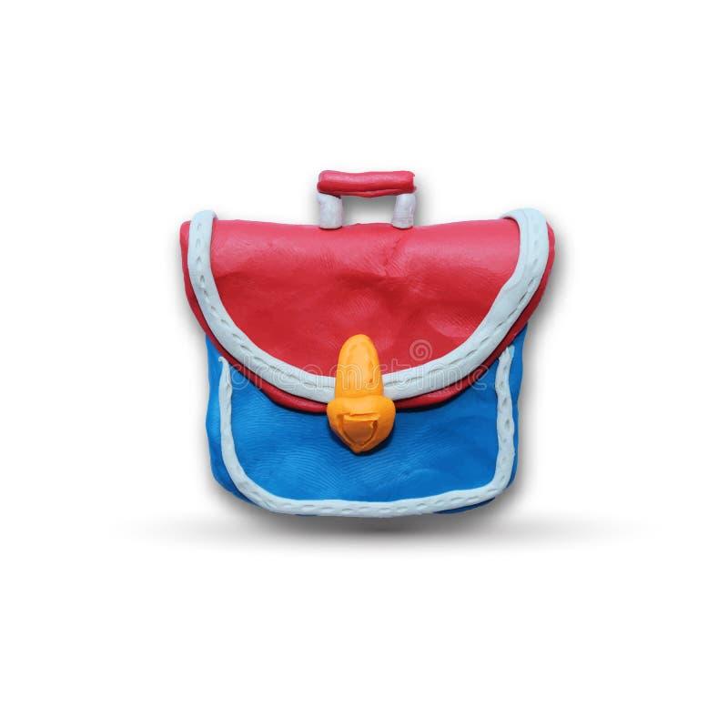 School bag. On white isolated background for use in back to school design. Plasticine modeling. Vector illustration vector illustration