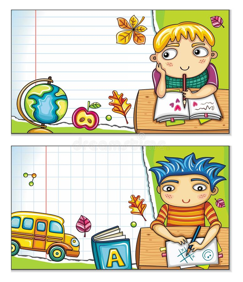 School banners with cute children (part 2) vector illustration