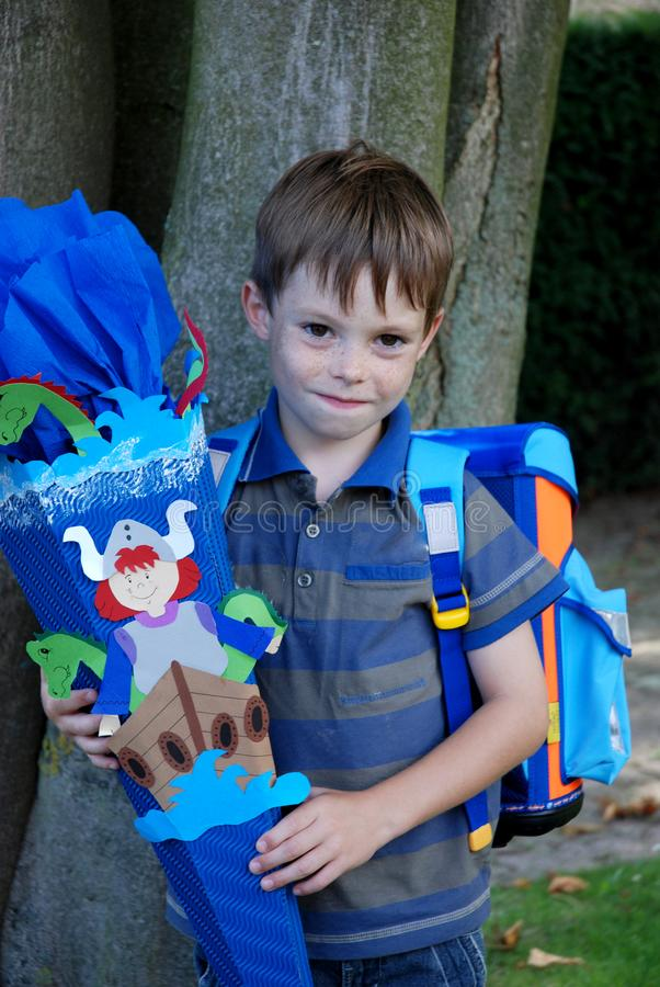 School begins, boy at his first day at school stock photos