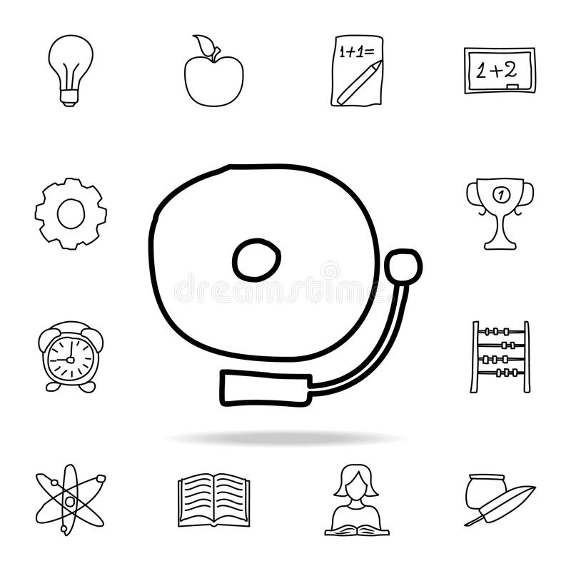 School bell sketch icon. Element of education icon for mobile concept and web apps. Outline school bell sketch icon can be used fo. R web and mobile on white vector illustration