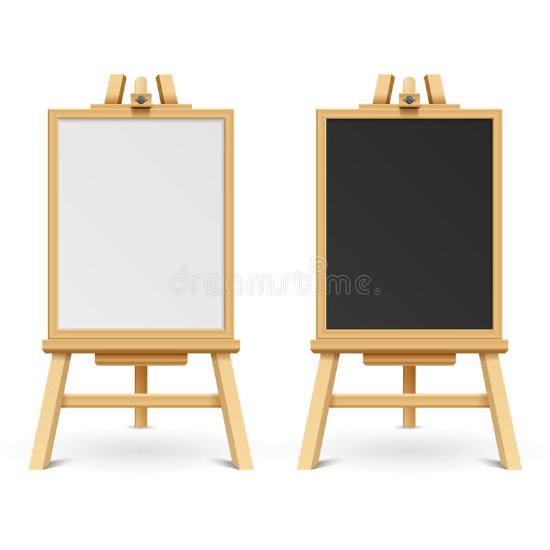 School black and white blank boards on easel vector illustration stock illustration