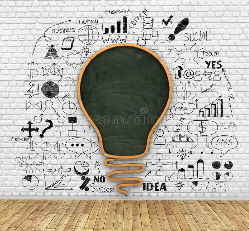 School blackboard in shape of idea lightbulb stock illustration