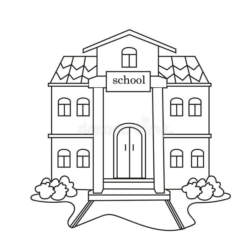 School blackly wit met struiken voor het schilderen van onderwijsinstelling op een witte achtergrond stock afbeelding