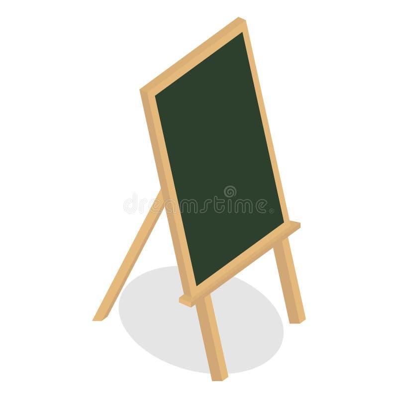 School blank boards. Wooden frame board and chalk board on tripod vector illustration