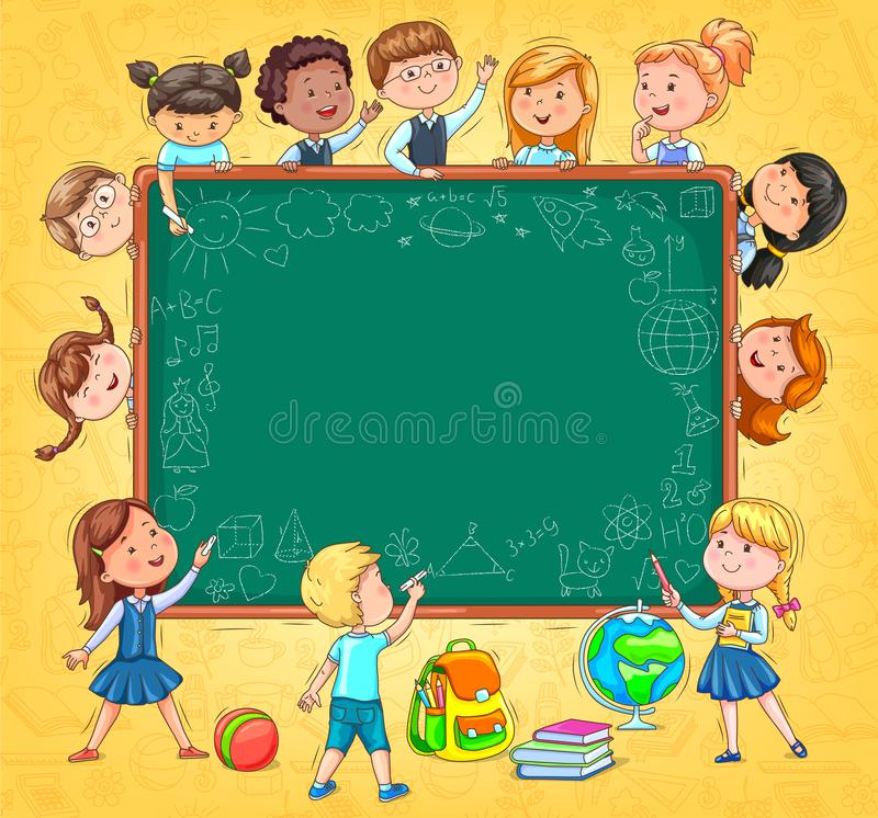 School board for your text Funny kids and drawings with chalk on vector illustration