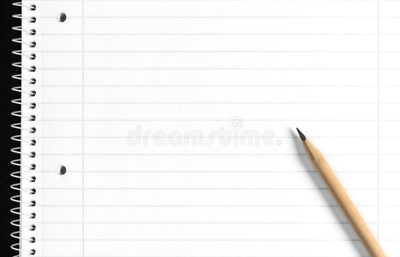 School book page White empty paper notebook. School book page. White empty paper spiral notebook stock photography