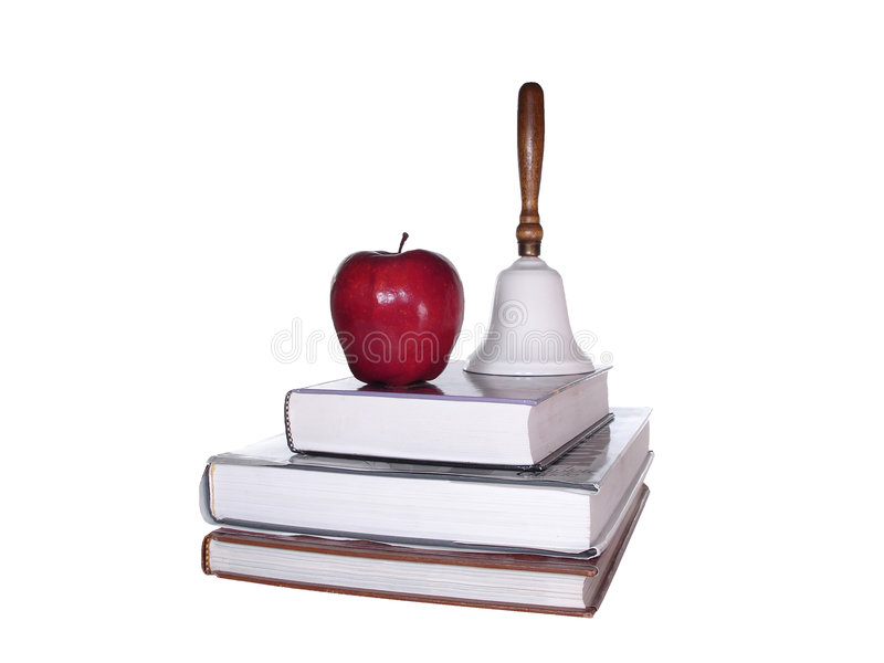 Download School Books Apple Bell Clipping Path Stock Photo - Image: 640150