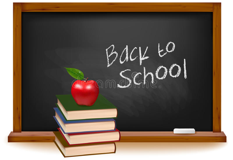 Download School Books With Apple On Desk. Stock Photo - Image: 23212760