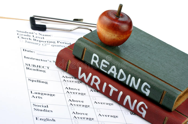 School Books and Report Card royalty free stock image