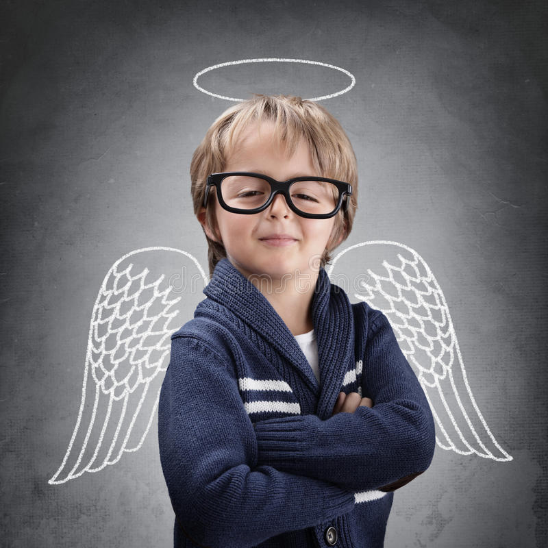 School boy angel with wings and halo royalty free stock photos