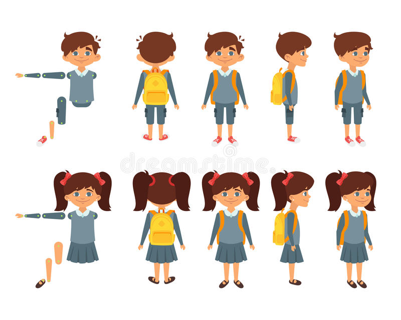 School boy and girl for animation vector illustration