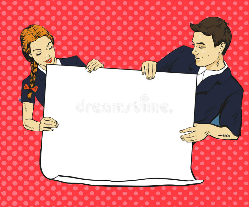 School boy and girl hold blank white paper poster. Vector illustration in comic pop art style. Put your own text royalty free illustration