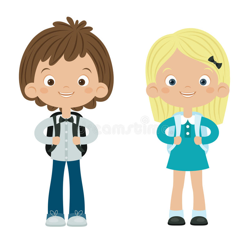 School boy and girl. Isolated over white background. Happy kids vector illustration vector illustration