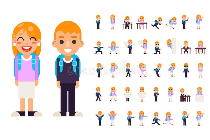 School boy girl student pupil different poses actions teen characters kid set isolated education flat design vector. School boy girl student pupil different royalty free illustration