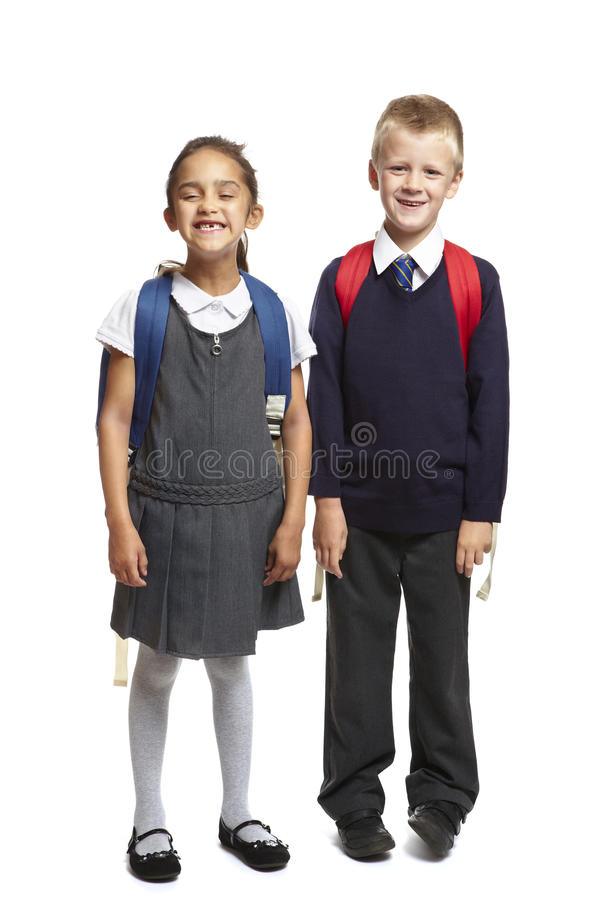 Download School Boy And Girl On White Background Stock Photo - Image: 26140898
