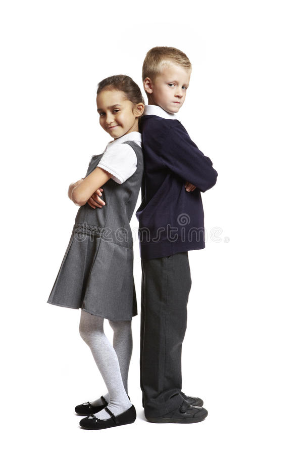 Download School Boy And Girl On White Background Stock Photo - Image of girl, uniform: 26140918