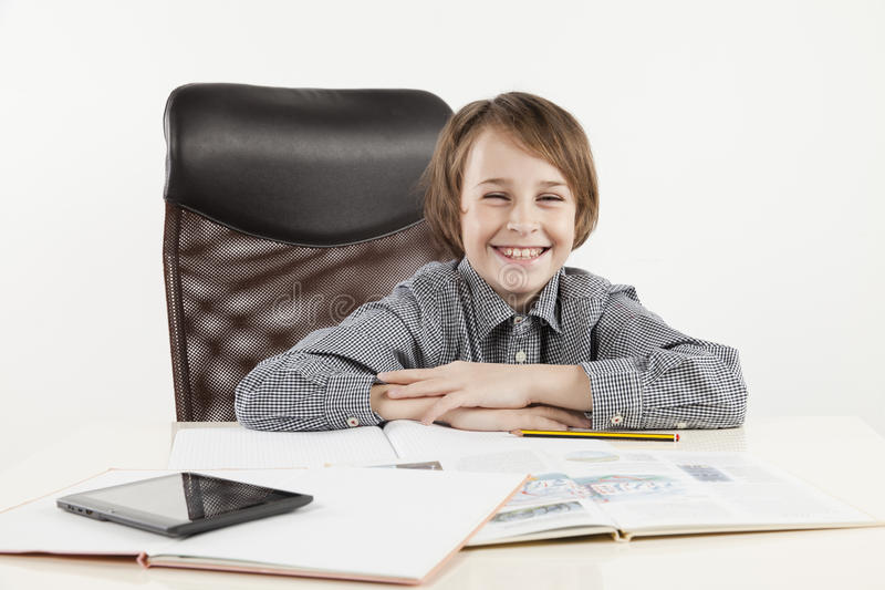 School boy hate learning. On white backgroung royalty free stock photography
