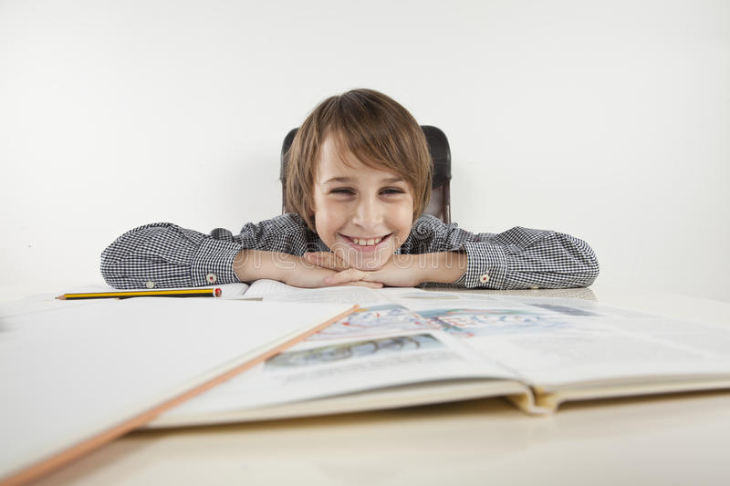 School boy hate learning. On white backgroung stock image