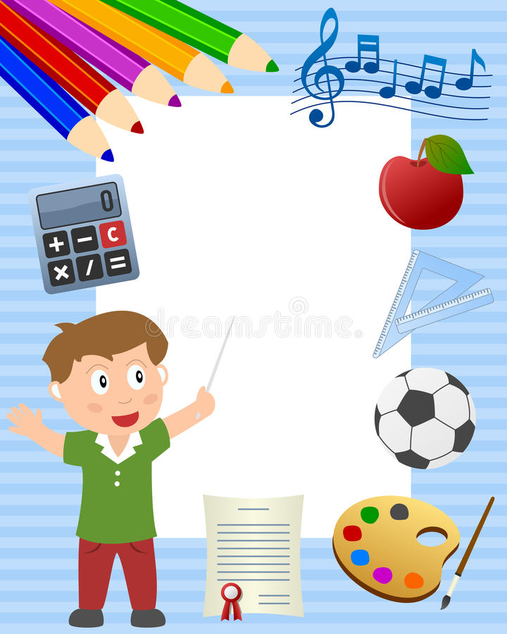 School Boy Photo Frame stock illustration