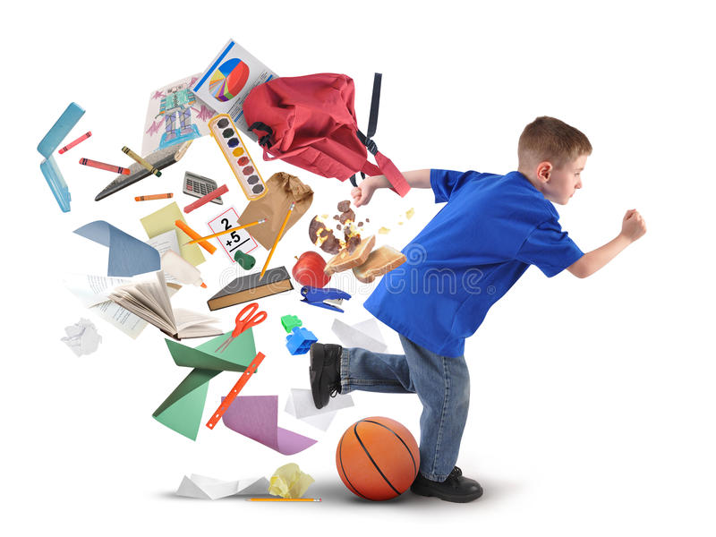 School Boy Running Late with Supplies on White stock photos