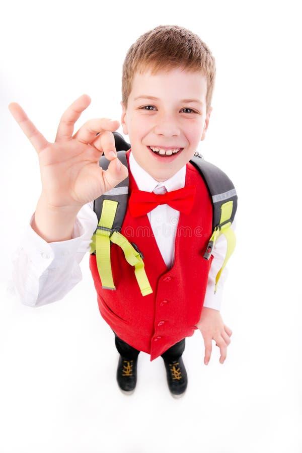 School boy shows OK stock photography