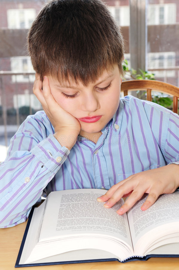 School boy studying stock images