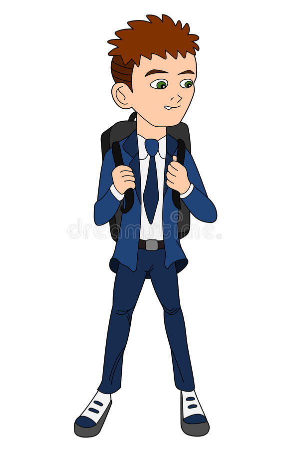 School boy in uniform cartoon stock photography