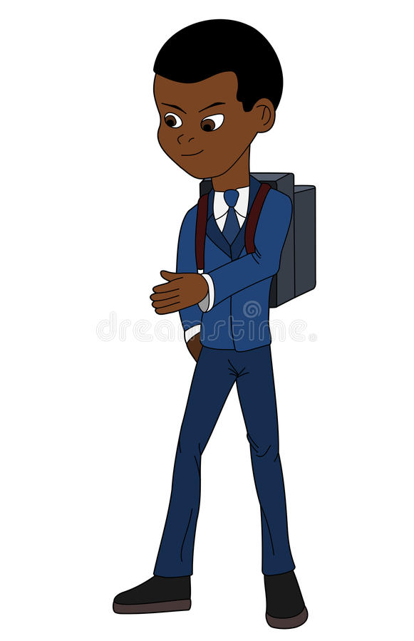 School boy in uniform cartoon stock photo
