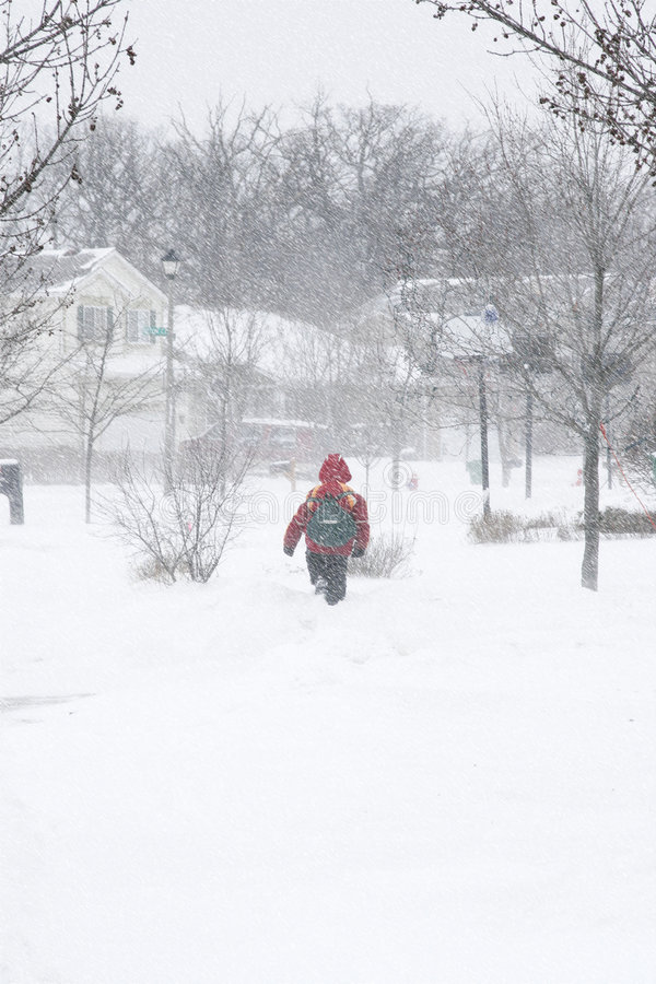 School Boy Walking Under Snow Storm Stock Image - Image of ...