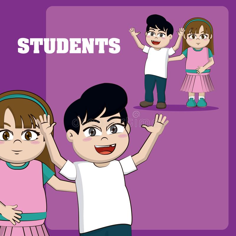 Kids students cartoons royalty free illustration