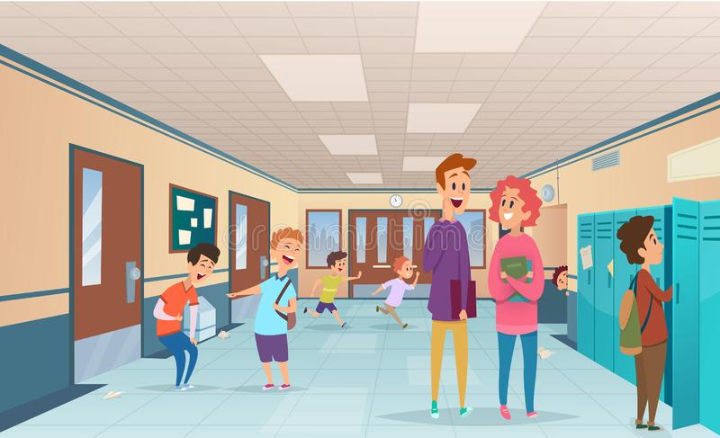 School break. Trouble pupils and students disorganized at school break in corridor vector cartoon characters. Illustration of hallway corridor college and royalty free illustration