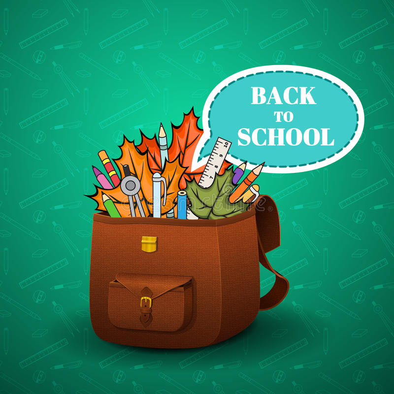 School briefcase. With a realistic skin texture and hand-drawn school supplies on a blue background, school background royalty free illustration