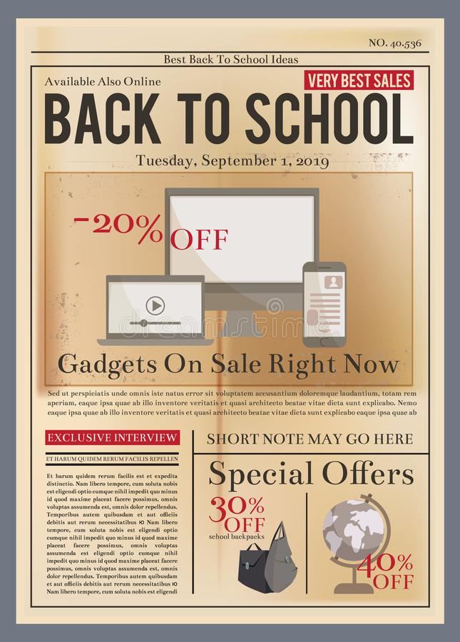 School brochure. Education training course old newsletter magazine or retro brochure cover vector design template. Vintage back to school poster stock illustration