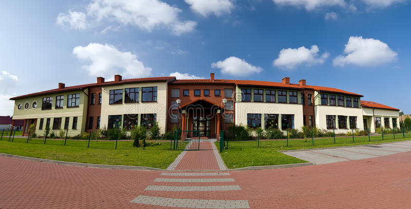 Download School building stock image. Image of skies, grass, style - 16012205