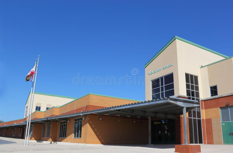School Building Flag stock photo