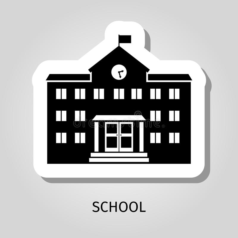 Free School Building Black Sticker Royalty Free Stock Images - 89119629